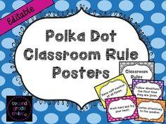 Polka Dot Classroom Rule Posters (Editable) $