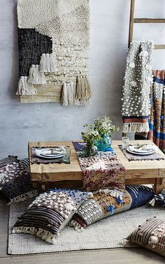 You may remember a few years back I shared a studio visit with my homegirl Janelle from All Roads. Well today, I'm thrilled to share her new line of home accessories that she designed for Anthro. (you go girl!!) Her signature weaving style has been reinterpreted into a cozy, tactile collection...