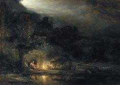 Rembrandt van Rijn - Landscape with the Rest on the Flight into Egypt