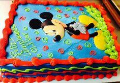 . Bolo Mickey Baby, Baby Mickey Mouse Cake, Mickey Mouse Clubhouse Birthday Party, Mickey Birthday, Mickey Party, Baby 1st Birthday, 2nd Birthday Parties, Bolo Mickey Chantilly, Pastel Mickey