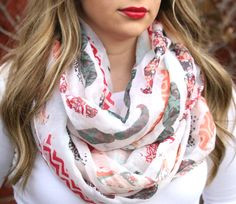 WHAT?!  We have combined all of the hottest prints this Spring.......chevron, floral, aztec, animal prints and mustaches......into this adorable infinity scarf!!  We are oh so happy to bring you this amazing infinity scarf at this amazing price!  It's an eye catcher with that luxurious big look.