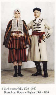 Folk costumes from Opoczno region (Poland), 1920-1950