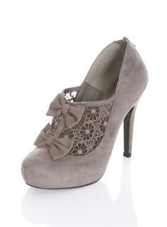 SEAL Grey Bow Lace Heel - View All - Shoes - Miss Selfridge on Wanelo wishing once more I could walk in heels