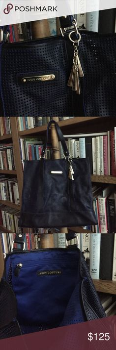 JUICY COUTURE navy leather tote with gold accents Authentic JUICY COUTURE navy perforated tote in navy leather with gold accents - detachable gold JUICY COUTURE charm - great condition - never used Juicy Couture Bags Totes