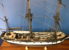 The completed model of HMS Beagle top view