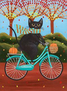 autumn, cat, and pumpkins image