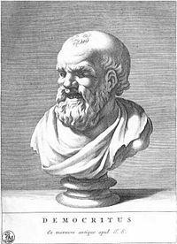 """Demócrito de Abdera (em grego antigo: Δημόκριτος, Dēmokritos, """"escolhido do povo""""; ca. 460 a.C. — 370 a.C.) nasceu na cidade de Abdera (Trácia), e é tradicionalmente considerado um filósofo pré-socrático. Cronologicamente é um erro, já que foi contemporâneo de Sócrates e, além disso, do ponto de vista filosófico, a maior parte de suas obras (segundo a doxografia) tratou da ética e não apenas da physis (cujo estudo caracterizava os pré-socráticos)."""