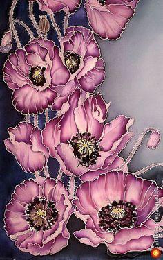 "Scarves and shawls hand made, batik. Handkerchief ""Poppies"" by Sofia Feliz."