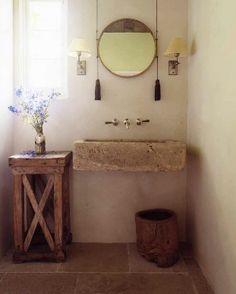 sink, rustic table, floor tiles