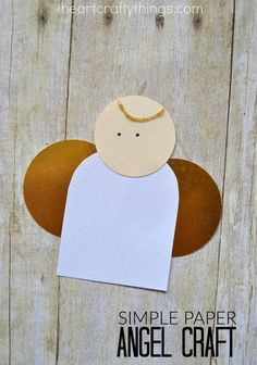 Here is a simple paper angel craft for kids, perfect for a Christmas kids craft. You can easily turn it into an ornament by gluing a string to the back of the angel. Christmas Angel Crafts, Christmas Crafts For Toddlers, Preschool Christmas, Christmas Projects, Preschool Crafts, Kids Christmas, Diy Crafts For Kids, Holiday Crafts, July Crafts