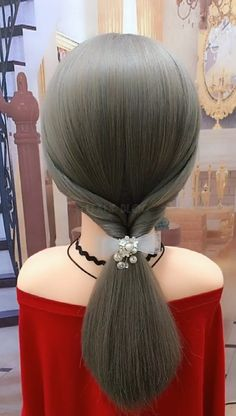 """title=""""Different low ponytail hairstyle. Do you like it?""""> This wrapped ponytail is the perfect style if you have long hair and find it difficult to k. Low Ponytail Hairstyles, Twist Hairstyles, Down Hairstyles, Long Hair Ponytail, Medium Hair Styles, Curly Hair Styles, Hair Twist Styles, Plum Hair, Very Short Hair"""