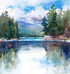 Rich Lake-Adirondacks by Sarah Yeoman Watercolor ~ 6 x 6