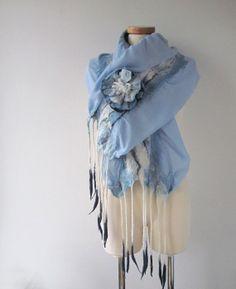 Nuno+Felted+scarf+++Blue+sky++fringed+ruffle+scarf+by+galafilc,+$54.00 Colored end sod fringe