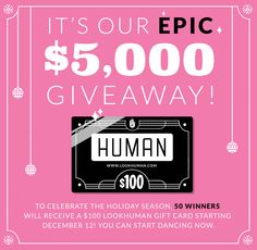 I just entered the #lookhumangiftcard giveaway! Repin this post to enter with #lookhumangiftcard. Follow the link for more chances to win a $100 gift card! http://www.lookhuman.com/giveaway