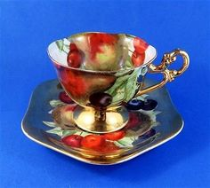Stunning Fruit on Gold Pedestal Hand Decorated Shafford Tea Cup and Saucer Set
