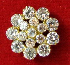 Indian Style Fancy CZ Nose Stud ECL Solid Real 14k Yellow Gold Fashion Body Pin | eBay $37.50