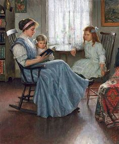 Lee Lufkin Kaula (1865-1957), Mother reading with two girls