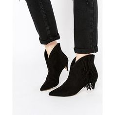ASOS ROLL AROUND Suede Pointed Fringed Ankle Boots (255 SAR) ❤ liked on Polyvore featuring shoes, boots, ankle booties, black, black fringe booties, black suede ankle booties, fringe booties, short black boots and black fringe boots