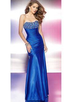 Longo Azul-marinho Curação Cetim Fecho Vestido Formatura (3AJ0019)