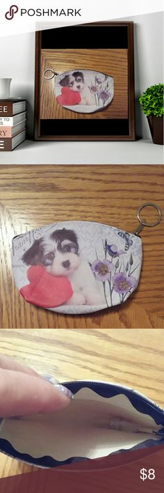 """Dog coin purse Dog coin purse. Zipper closure. Has a key ring on zipper. Print on both sides.   5""""W x 4"""" H. PU leather.     NWOT Bags Mini Bags"""