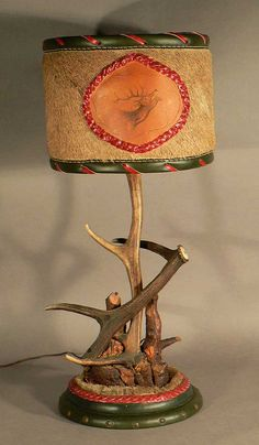 a decorative antler table lamp ca. 1910