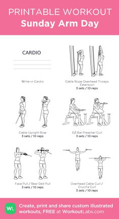 Sunday Arm Day – my custom workout created at WorkoutLabs.com • Click through to download as printable PDF! #customworkout