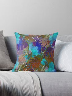 « Fleurs exotiques  multicolores - bleu, turquoise, violet » par LEAROCHE Bleu Turquoise, Violet, Throw Pillows, Art, Exotic Flowers, Cushions, Toss Pillows, Art Background, Kunst