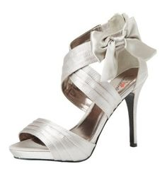 cute cheap high heel silver wedding shoes with bow free shipping