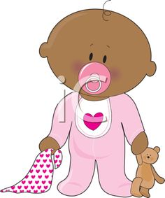 Royalty Free Clipart Image of a Baby With a Soother, Blanket and Teddy Bear