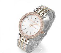 Michael Kors Petite Darci Silver and Rose Gold-Tone Watch Women