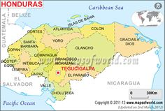 Honduras Map  Climate: 90°F and the average low is 68°F.Temperatures are coolest in mountain areas.   Capital: Tegucigalpa