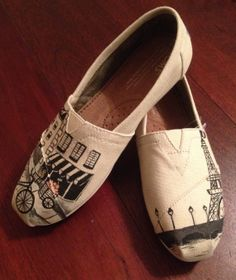 Paris France Themed Eiffel Tower Custom Painted TOMS Classic Womens Canvas Sneaker