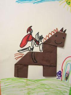 ……mamamisas welt……: Sankt Martin auf dem stolzen Pferd …… mamamisa's world ……: Saint Martin on the proud horse Hl Martin, Kindergarten Portfolio, Arts And Crafts, Paper Crafts, Woodland Party, Halloween, Diy For Kids, Activities For Kids, Origami