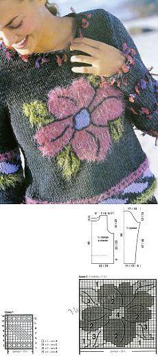 Джемпер с крупным жаккардовым узором - Пуловер