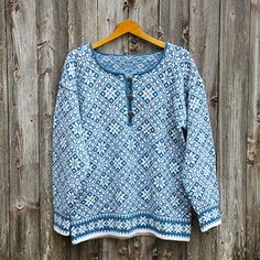 Stjernetrøye fra Sotra (Huldra) Love Blue, Blue And White, Fair Isle Knitting, Men Sweater, Sweaters, Cardigans, How To Make, Inspiration, Tops