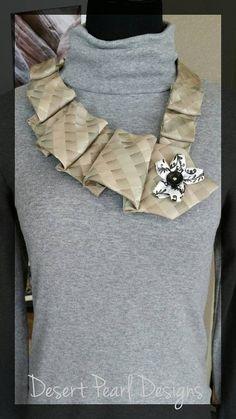 necktie necklace with neutral unique fashion by DesertPearlDesigns