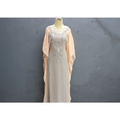 Peach Color Maxi Dress Kaftan Swarovski Butterfly Dress Elegant Peach... ($48) ❤ liked on Polyvore featuring dresses, gowns, maxi gown, caftan dress, fancy dresses, peach gown and kaftan maxi dress