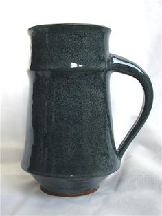 Handmade ceramic navy blue beer stein / coffee mug. pottery large 18oz. by ErinCarpenterPottery