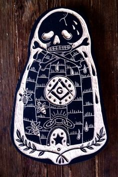 Fraternities for Bill, Tattoo Wood Carvings by Bryn Perrott