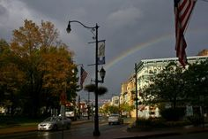 Rainbow over downtown Binghamton, New York, taken by a friend.