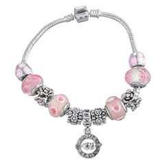 * Penny Deals * - Souatrs Silver Tone Color Heart Rhinestone European Beads Charm Bracelet *** Continue to the product at the image link.
