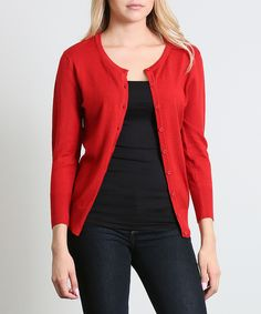 Loving this 42POPS Red Three-Quarter Sleeve Scoop Neck Cardigan - Plus on #zulily! #zulilyfinds