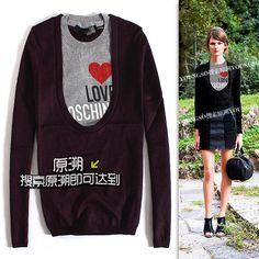 [yuansu brand]2013 Autumn New Arrical Basic Design Love Moshicn Slim Women Pullovers Women Sweater Two Piece Set $28.00