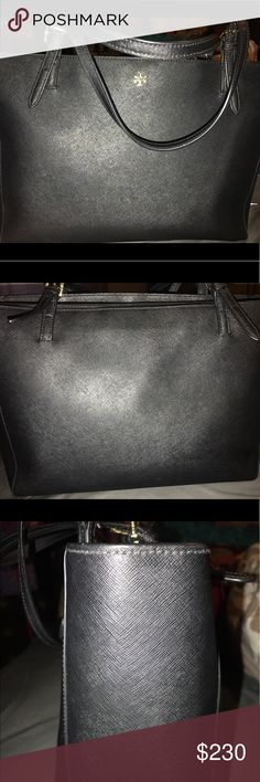 Large Tory Burch Tote Jet black Tory Burch tote! Great condition :) fits all your daily work necessities in it, including a little extra stuff if need be! (My Mac book pro fits perfectly in it). Only carried a few times, purchased another bag so I ended up not carrying this one as much! :) Bags Totes