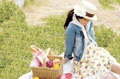 Having a picnic.