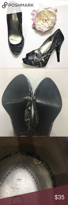 """Guess Snake Print 5"""" Peep Toe Heels in Size 10 EUC Guess snake print 5"""" heels in size 10. Defect of shoe shown in last photo. Guess Shoes Heels"""