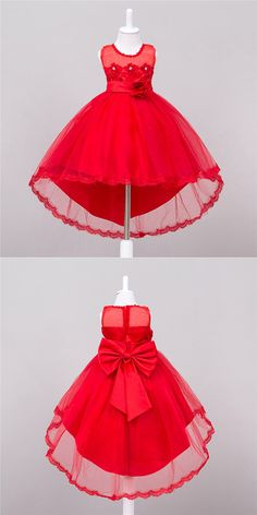 Shop High Low Red Floral Cheap Flower Girl Dress With Lace Trim online. African Dresses For Kids, Little Girl Dresses, Girls Dresses, Prom Dresses, Wedding Dresses, Red Flower Girl Dresses, Pretty Dresses, Flower Girls, Kids Gown