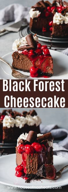 Be still my cherry chocolate loving heart! This Black Forest Cheesecake is a decadently creamy, dark chocolate cheesecake topped with cherry pie filling, sweetened whipped cream, and chocolate curls.#ad #cheesecake #blackforest #chocolate #cherries #easy #recipe #christmas #valentinesday #best #dark #dessert #holiday #cherrypiefillings