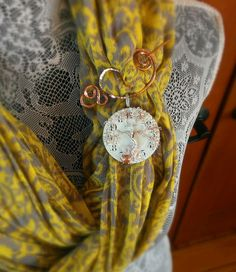 Vintage Clock Pieces, Copper, and Metals. Scarf Pendant/Pin. Fall Fashions. By- Simple Creations By Sam- https://www.facebook.com/SimpleCreationsBySam