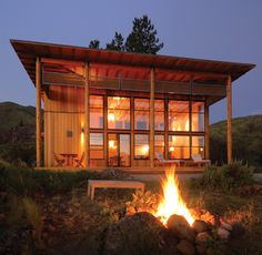 Cabins: Classic to Contemporary - Cabin Life Magazine Eco Cabin, Tiny House Cabin, Cabin Homes, Tiny Houses, Farm House, Contemporary Cabin, Red Cottage, Lawn Chairs, Lake Cabins